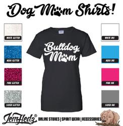 Black Ladies' Fit Short Sleeve T-Shirt with Bulldog Mom logo