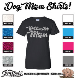 Black Ladies' Fit Short Sleeve T-Shirt with Rottweiler Mom logo