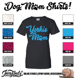 Black Ladies' Fit Short Sleeve T-Shirt with Yorkie Mom logo