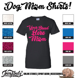 Black Ladies' Fit Short Sleeve T-Shirt with Mom logo of your custom breed