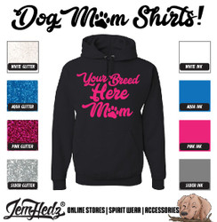Black Hoodie with Mom logo of your custom breed