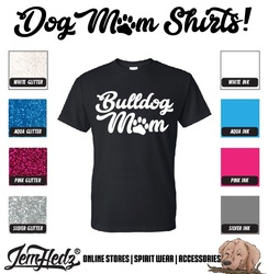 Black Short Sleeve T-Shirt with Bulldog Mom logo