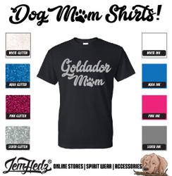 Black Short Sleeve T-Shirt with Goldador Mom logo