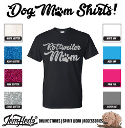 Black Short Sleeve T-Shirt with Rottweiler Mom logo