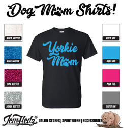 Black Short Sleeve T-Shirt with Yorkie Mom logo