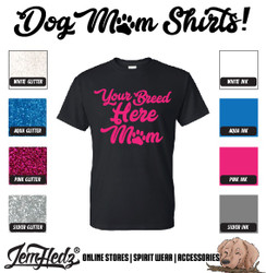Black Short Sleeve T-Shirt with Mom logo of your custom breed