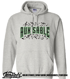 """Grey Hooded sweatshirt with Aux Sable music dept logo on front and """"Band"""" or """"Choir"""" added to left sleeve"""