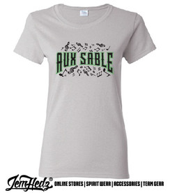 """Grey Ladies' Fit Short Sleeve T-Shirt with Aux Sable music dept logo on front and """"Band"""" or """"Choir"""" added to left sleeve"""
