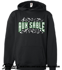"""Black Badger Performance Hoodie with Aux Sable music dept logo on front and """"Band"""" or """"Choir"""" added to left sleeve"""