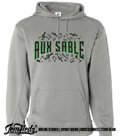 """Grey Badger Performance Hoodie with Aux Sable music dept logo on front and """"Band"""" or """"Choir"""" added to left sleeve"""