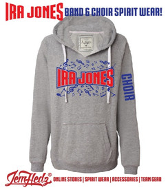 "Grey Ladies' V-Neck Hoodie with Ira Jones Music Dept logo on front & ""Choir"" down left sleeve"