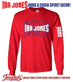 "Red Long Sleeve T-Shirt with Ira Jones Music Dept logo on front & ""Band"" down left sleeve"