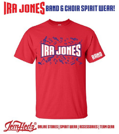 "Red Short Sleeve T-Shirt with Ira Jones Music Dept logo on front & ""Band"" on left sleeve"