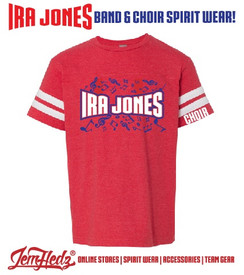 "Red/White Football Jersey Tee with Ira Jones Music Dept logo on front & ""Choir"" on left sleeve"