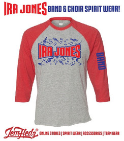 "Red/Grey 3/4 Sleeve Baseball T-Shirt with with Ira Jones Music Dept logo on front & ""Band"" down left sleeve"