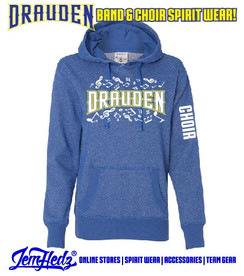 """Royal Ladies' Glitter Hoodie with Drauden Point Music Dept logo on front & """"Choir"""" down left sleeve"""