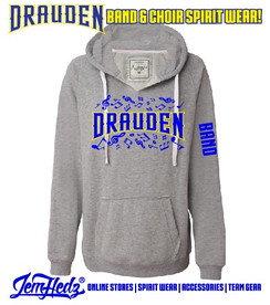 """Grey Ladies' V-Neck Hoodie with Drauden Point Music Dept logo on front & """"Band"""" down left sleeve"""