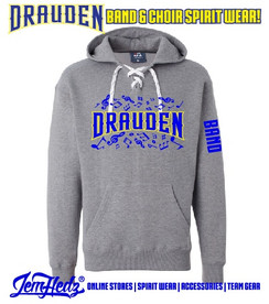 """Grey Sport Lace Hooded sweatshirt with Drauden Point Music Dept logo on front & """"Band"""" down left sleeve"""