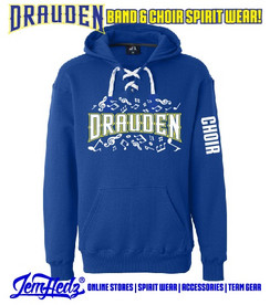 """Grey Sport Lace Hooded sweatshirt with Drauden Point Music Dept logo on front & """"Choir"""" down left sleeve"""