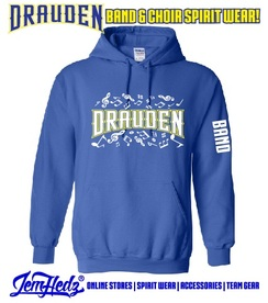 """Royal Hooded sweatshirt with Drauden Point music dept logo on front and """"Band"""" down left sleeve"""