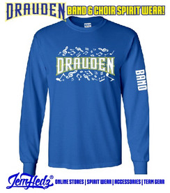 """Royal Long Sleeve T-Shirt with Drauden Point Music Dept logo on front & """"Band"""" down left sleeve"""