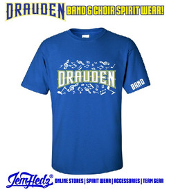 """Royal Short Sleeve T-Shirt with Drauden Point Music Dept logo on front & """"Band"""" on left sleeve"""