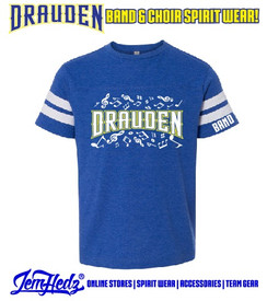 """Royal/White Football Jersey Tee with Drauden Point Music Dept logo on front & """"Band"""" on left sleeve"""