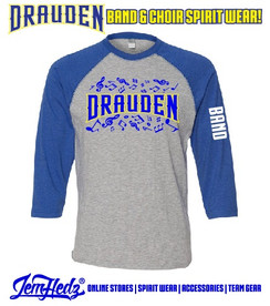 """Royal/Grey 3/4 Sleeve Baseball T-Shirt with with Drauden Point Music Dept logo on front & """"Band"""" down left sleeve"""