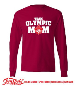 Red Long Sleeve T-Shirt with white Olympic Mom logo on front
