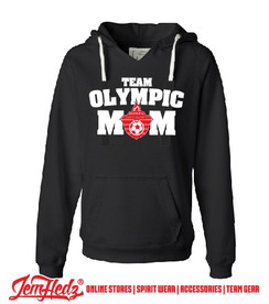 Black Ladies' V-Neck Hoodie with white Olympic Mom logo on front