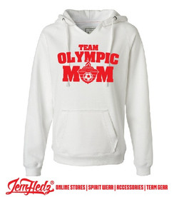 White Ladies' V-Neck Hoodie with red Olympic Mom logo on front