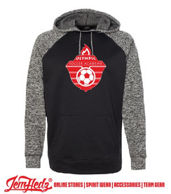 Black Cosmic Colorblock Hoodie with white Olympic Soccer logo on front