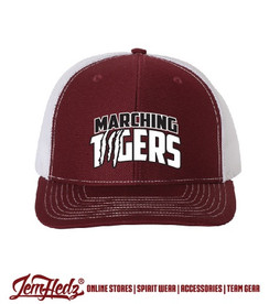 Cardinal/white Richardson trucker snapback cap with PN Marching Tigers embroidered logo