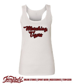 Ladies' White Racerback Tank with Marching Tigers script logo on front