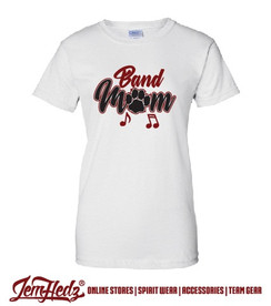 Ladies' Fit White Short Sleeve T-Shirt with Band Mom logo on front