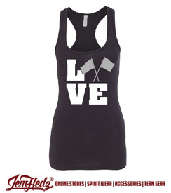 Ladies' Black Racerback Tank with Color Guard logo on front