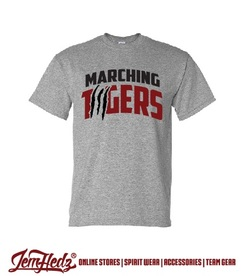 Grey Short Sleeve T-Shirt with Marching Tigers logo on front
