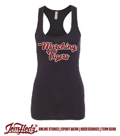 Ladies' Black Racerback Tank with Marching Tigers script logo on front
