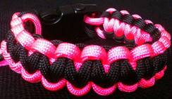 Black with Pink Edge Paracord Bracelet