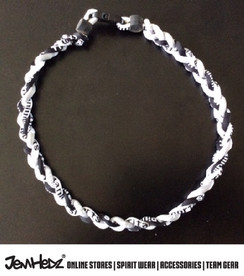 """20"""" Grey Black White 3 rope titanium sport necklace with jersey number"""
