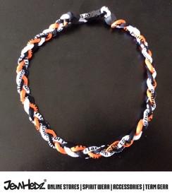 "20"" Orange Black White 3 rope titanium sport necklace with jersey number"