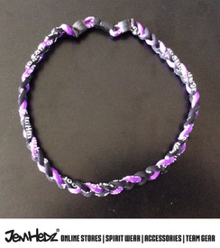 """20"""" Purple Black Black 3 rope titanium sport necklace with jersey number"""