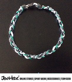 """20"""" Black Green White 3 rope titanium sport necklace with jersey number"""