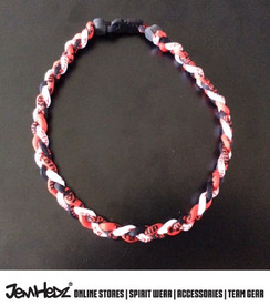 """20"""" Red Black White 3 rope titanium sport necklace with jersey number"""