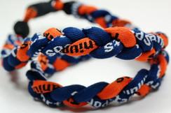 "20"" Navy Navy Orange 3 rope titanium sport necklace with jersey number"
