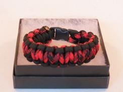 Red/Black Camo with Black Edge Paracord Bracelet
