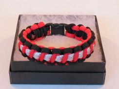Red with Black Edge Glitter Paracord Bracelet