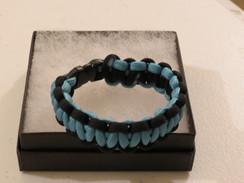 Carolina Blue with Black Edge Paracord Bracelet