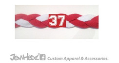 Olympic Soccer headband - red & white with jersey number