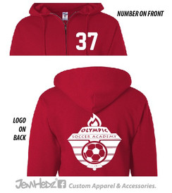 Red full-zip hooded sweatshirt with white Olympic Soccer logo on back, optional number on front left chest